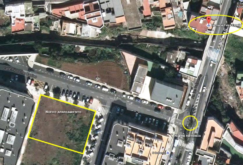 Mapa localización aparcamiento rotonda farmacia
