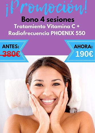 Promo 4 sesiones radiofrecuencia vitamina C